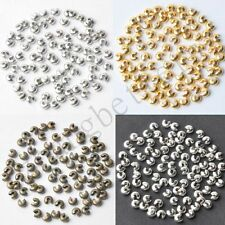 200 Pcs Silver Gold Bronze Plated Crimp Knot Cover End Beads Making Findings 4mm