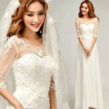 HOT White lace wedding dress Formal The bridesmaids Evening dress
