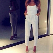Women Sexy V-neck Bodycon Bandage Tight Waist Jumpsuits Bustier Sleeveless White