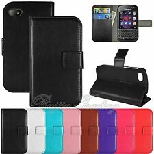 Flip PU Leather Wallet Case Cover Stand Pouch w/ Card Slots For Blackberry Q10