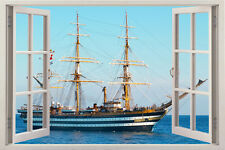 ship 3D Window View Removable Wall Art Sticker Decal Decor sticker Self Adhesive
