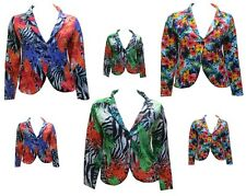 WOMENS FLORAL CELEBRITY SUMMER SUN LADIES BLAZER JACKET PLUS SIZES UK 16-26