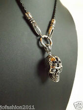 Leather Chain With Stainless Steel Bracelet Skull Death Head