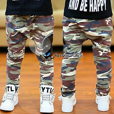 Spring Autumn Boys Baby Child Kids Camouflage Skull Badge Pants Trousers 2-7Y
