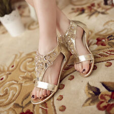 Womens Rhinestone Flat Bohemia Roma T Strap Bar Summer flip-flop Sandals Shoes