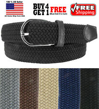 MULTI COLORS BASKET WEAVE WOVEN STRETCH ELASTIC BELT with BELT BUCKLE ONE SIZE