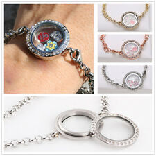 New HOT Magnetic Crystal Living Memory Locket Bracelet Chain Fit Floating Charms