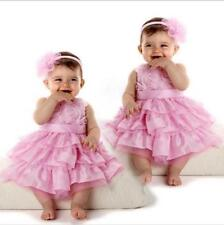 Baby Girls Kids Infant Outfit Tutu Skirt Bow Dress +Flower Headband Clothes-LJ