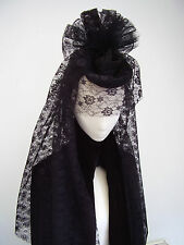 Black widow's Victorian lace bustle fascinator & veil
