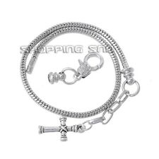 10PCS Silver /P Lobster Clasp Snake Chain Charm European Bracelets Cross Beads