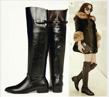 2014 News Plus Size Black Buckle Strap Pull On Cuban Heel OVER Knee Riding Boots