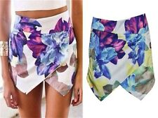 Summer Fashion Women Skorts Asymmetric Flower Print Culottes Hot Shorts Skirts-H