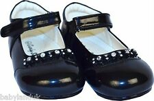 Early Steps Infant Girls Diamante Patent Shoes UK Size 6 & 8 Black Only