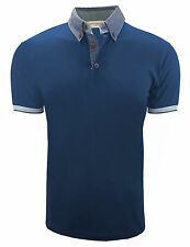 Mens Cotton Printed High Collar Fit Polo Shirt Designer Blue M L C3