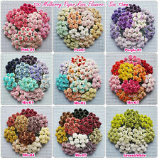 100 Mixed Colors mini Mulberry Paper  Rose Flowers of Wedding Crafts:15mm.