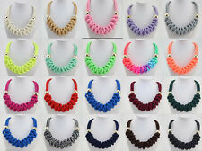 New Lady Bubble Fashion Neon knitted Bib Statement Bib charm Necklace 21color