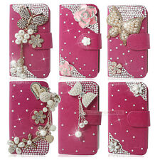 The Newest ! 3D White Bling Flip Wallet Leather Phone Case For Nokia Sony HTC LG