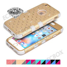 Hybrid Heavy Duty Bling Diamond Rubber Hard PC Matte Combo Case for Apple iPhone