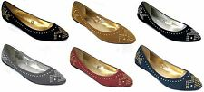 Shoes 18 Womens Microsuede Almond Toe Flats Shoes W/Metal Heat Seals