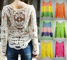Women Semi Sheer Embroidery Floral Hollow Lace Crochet  T-Shirt Top Blouse New