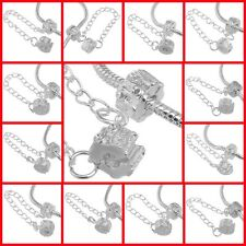 White Silver Safety Chain Clip Lock Stopper Clasp Beads Fit Charm Bracelets DIY