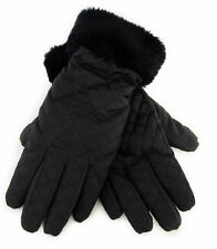 Ladies RJM Black Quilted Padded Gloves with Black Faux Fur Cuff Style GL406