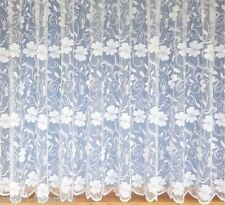 PRETTY FLOWERS PURE WHITE NET / LACE CURTAIN 3952, ALL OVER FLORAL, ALL SIZES