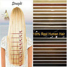 US Stock Clip In ON Remy 100% Real Human Hair Extensions Full Head Black