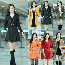 Womens Double Breasted Lace Fashion Trench Coat Outwear Long Jacket Overcoat