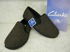 Clarks Men Slippers King Tweed Brown Fabric Classic Twin-Gusset