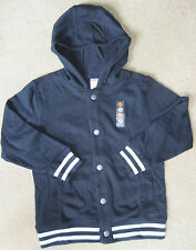 NWT Gymboree Boys Gym Navy Hooded Varsity Jacket/Coat  (S) 5-6 & (M) 7-8