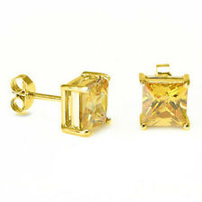 Canary Square Princess Cut CZ Crystal YG 925 Sterling Silver Stud Earrings