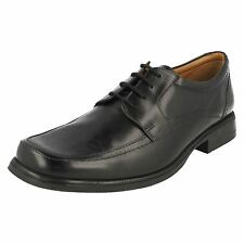 Mens Clarks Hold Spring Black Leather Smart Lace Up Shoes