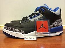 "Nike Air Jordan 3 Retro III ""Sport Blue"" Black Cement White GS & MEN SZ: 4Y-15"
