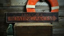 Custom  Lake House Boat Access Sign - Rustic Hand Made Vintage Wooden ENS1001120