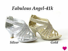 New Fabulous Pageant Flower Girl Shoes Rhinestone Dress Party Heels Angel-41k