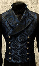 Authentic SHRINE CLOTHING Cavalier Blue Brocade Victorian Style Vest S-XL NEW