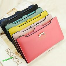 Fashional Women's Soft Leather Bowknot Clutch Wallet Long PU Card Purse Handbag