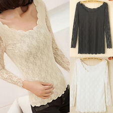 Fashion Lady Women Korean Lace Floral Sheer Crew Neck Long Sleeve Tops Blouse