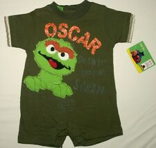 Sesame Street Oscar The Grouch One Pieces Body Suit Olive Color Size 12-18-24 Mo