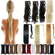 long Wrap Around clip in ponytail hair extensions pony tail all colors wm