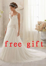 New style Beaded Lace white/ivory wedding dresses Bridal Gown prom dress custom
