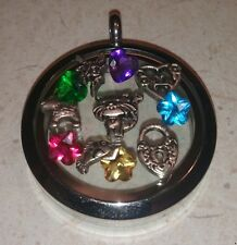 Floating charms and Colored Accent Birth Stones Gems Glass Lockets
