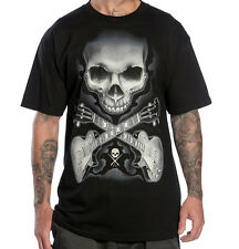 "Sullen Men's ""Rock Badge"" Tattoo Style Skull Tee Guitars T-Shirt by Tyrrell NWT!"