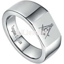 Mens Solid Tungsten Carbide Ring Silver Magnificen Freemason Masonic Ring Gift