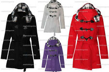 KIDS GIRLS DUFFLE TOGGLE TRENCH POCKET CHECK HOODED COAT JACKET WINTER 7 T0 13 Y