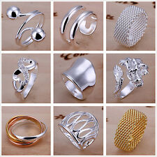 New Sterling Silver-plated Yellow Gold Filled Jewelry Ring US Size 6 7 8 9 10