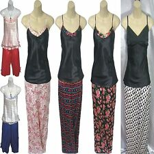Ladies Satin PJs Pyjamas Cami Top & Trousers Size 8 10 12 14 16 18 20 22 24 NEW