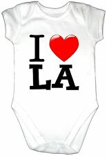 I LOVE L A Classic Baby Grow Gro Vest Clothes Heart Bodysuit Los Angeles USA