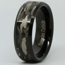 Tungsten Mens Soldier Camouflage Ring Black Silver Hunting Camo Wedding Band NEW